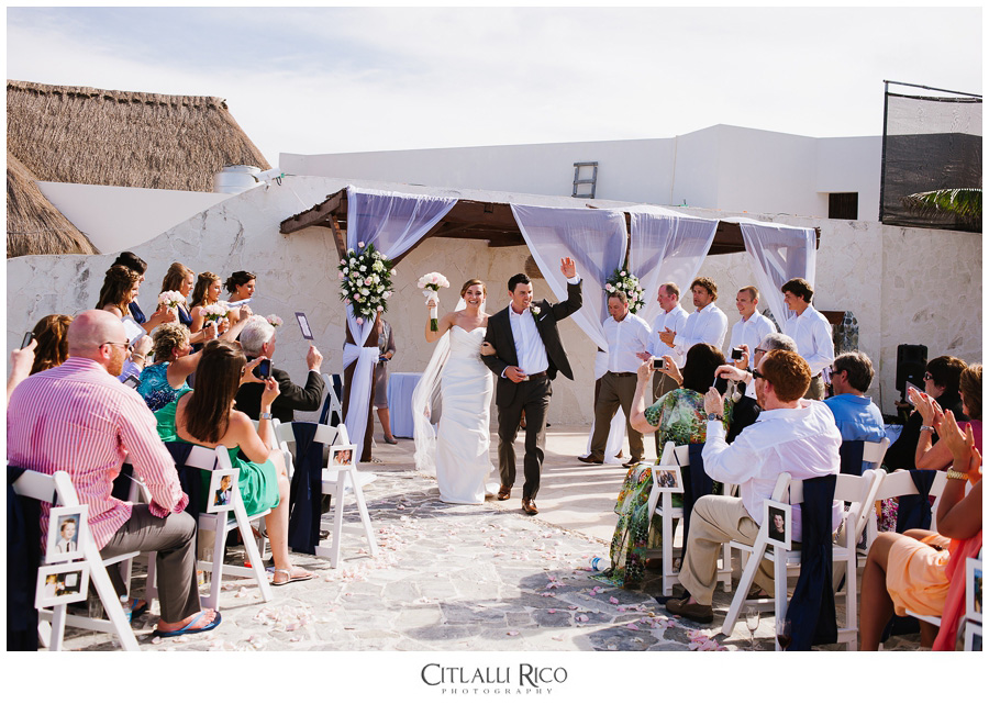 Bride-And-Groom-Walking-Out-The-Isle-TG-Villa-Carola-Riviera-Maya-Mexico
