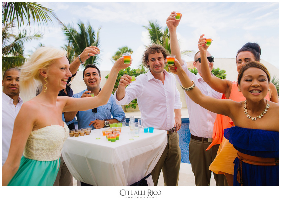 Guests-doing-shots-TG-Villa-Carola-Riviera-Maya-Mexico