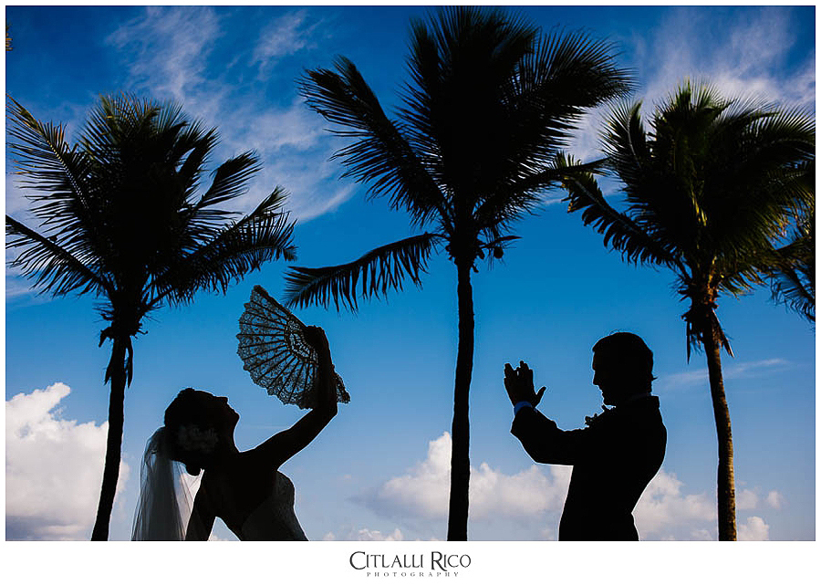 Bride Groom Silhouette Xcaret Wedding Photographer