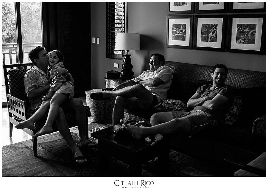 Family getting ready at Fairmont Mayakoba Xcaret Wedding Photographer