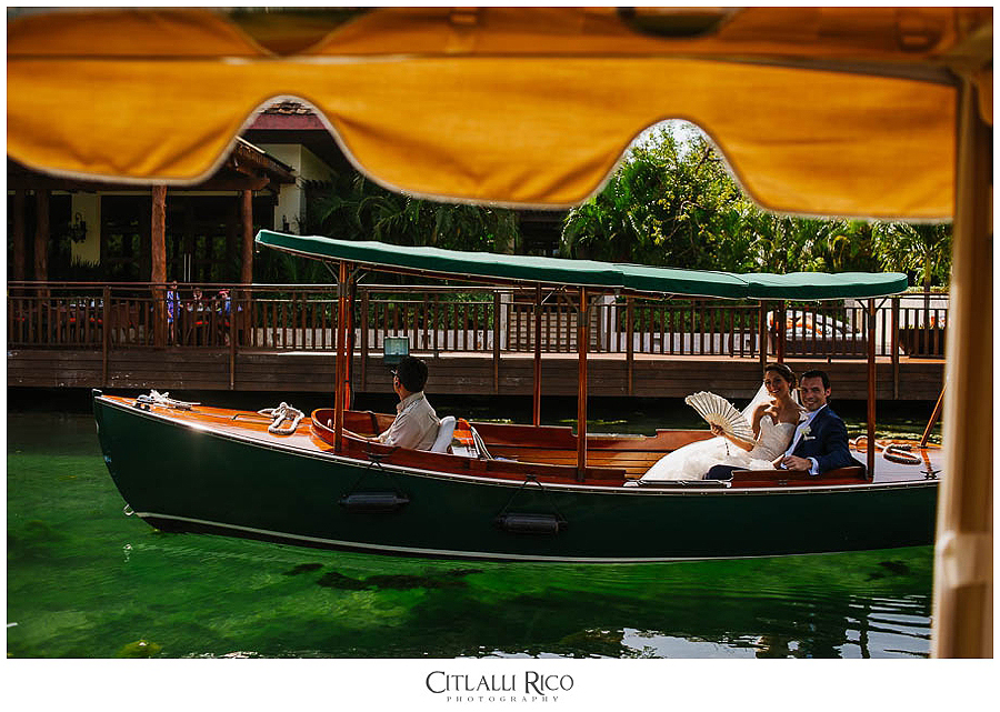MJ-Bride-and Groom-on-a-boat-Mayakoba-Xcaret-Wedding-014