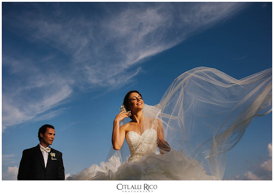 MJ-Bride-and-groom-portrait-veil-Mayakoba-Xcaret-Wedding-017