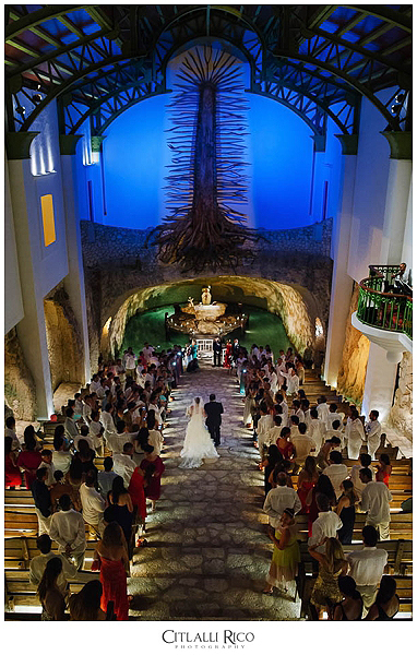 Bride walking down the aisle at Capilla de Guadalupe Xcaret Wedding Photographer
