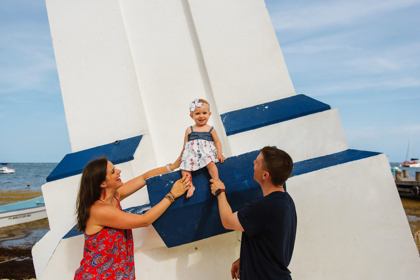 Puerto Morelos lighthouse family session