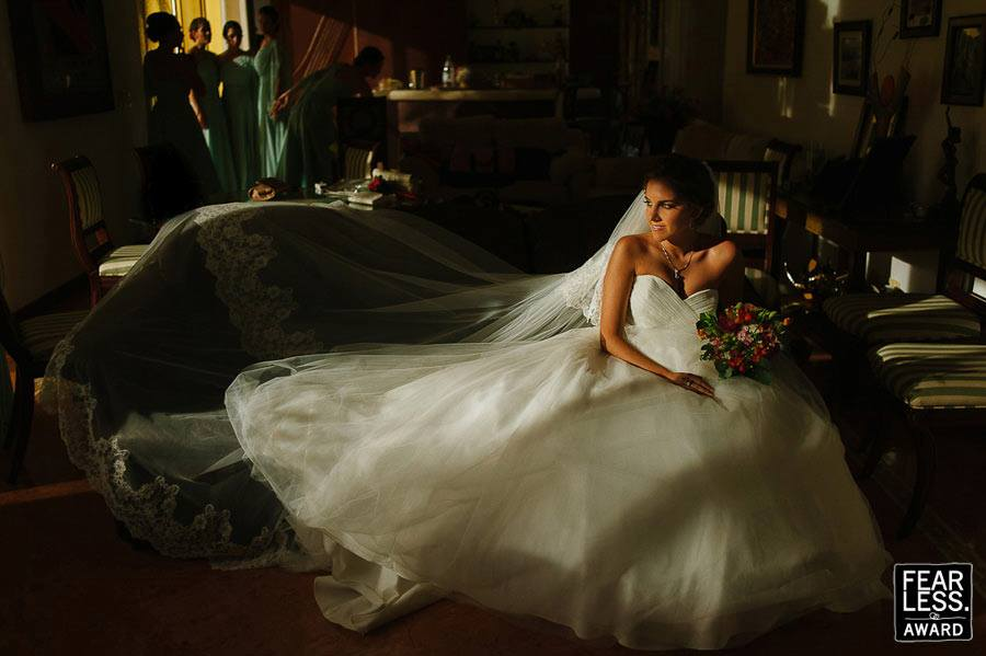 Fearless Awards Mexico Bride waiting at Hacienda Dzibikak Wedding in Merida Yucatan