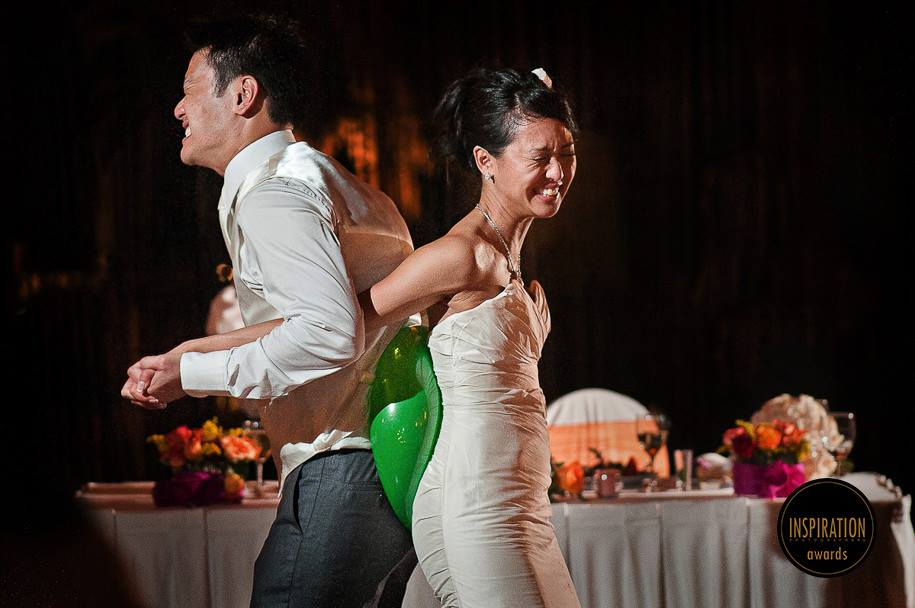 Couple playing during reception at Barcelo Wedding