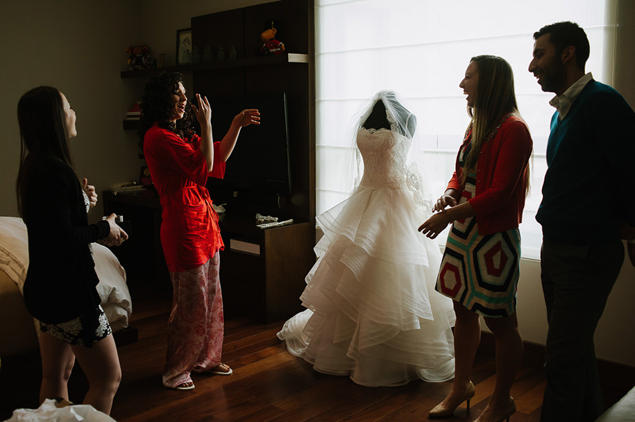 Bride playing with friends before getting ready