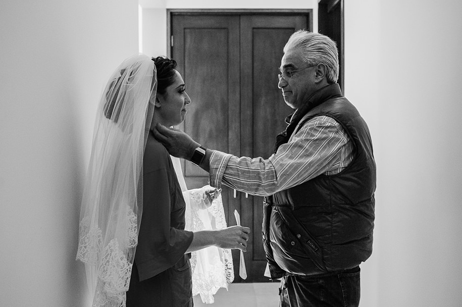 Father of the bride touching moment