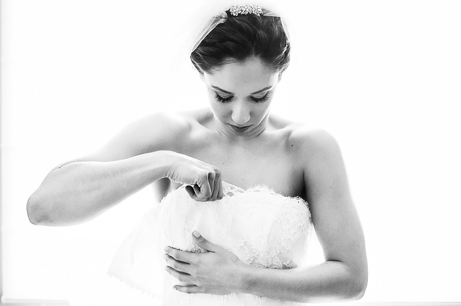 Bride getting dress for her Monterrey Wedding