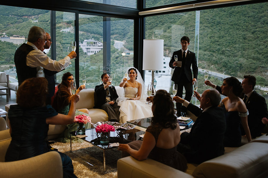Family toast at bride's house
