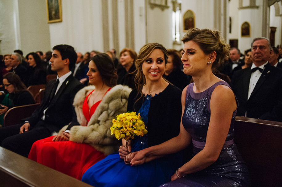 Guests reacting to ceremony