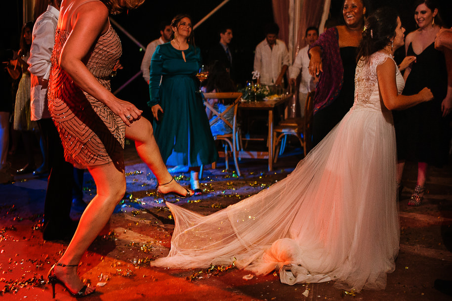 Stepping on the wedding dress