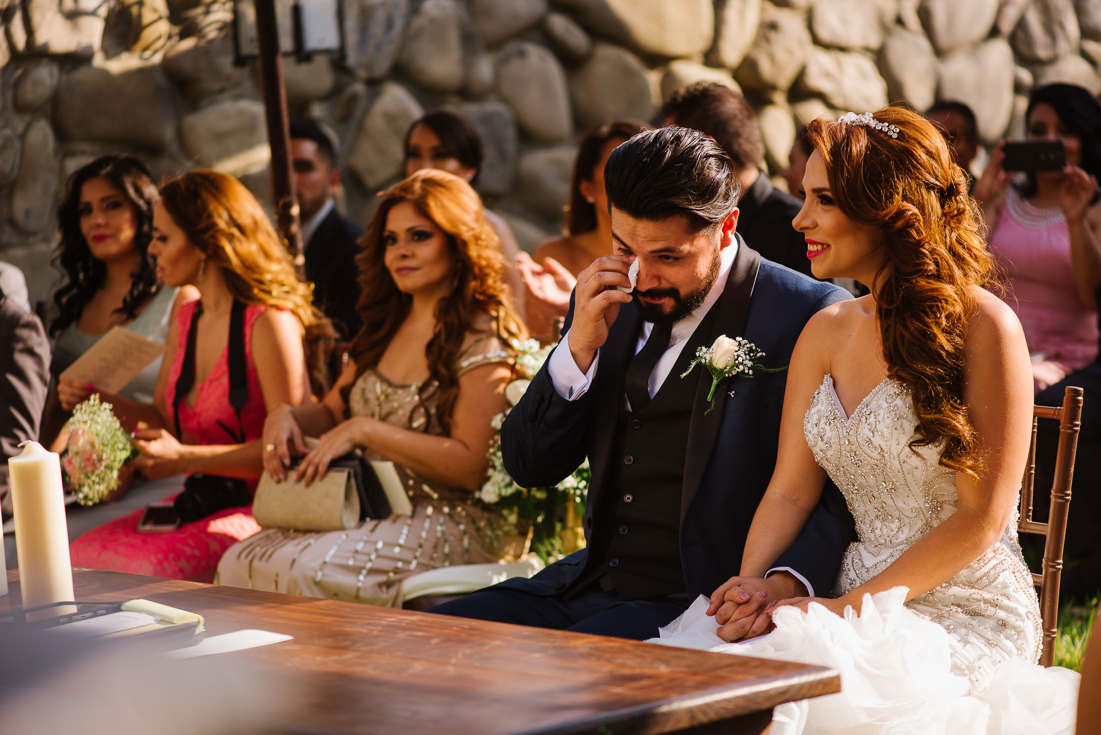 Teary groom at ceremony emotional moment