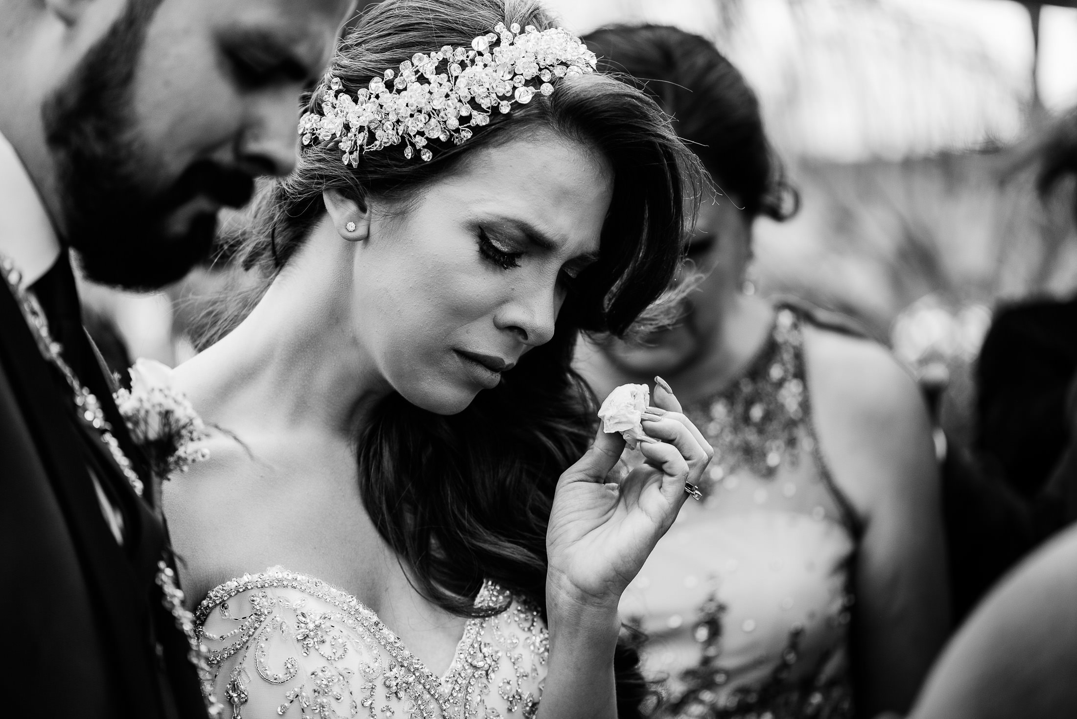 Crying bride during christian ceremony