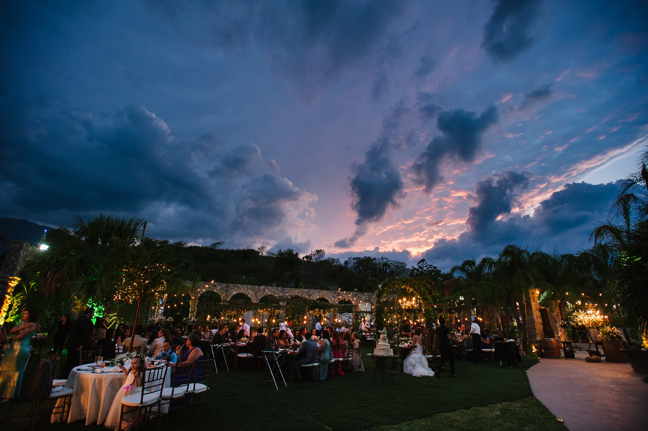 Wedding reception in Antigua Hacienda de Santiago Sunset