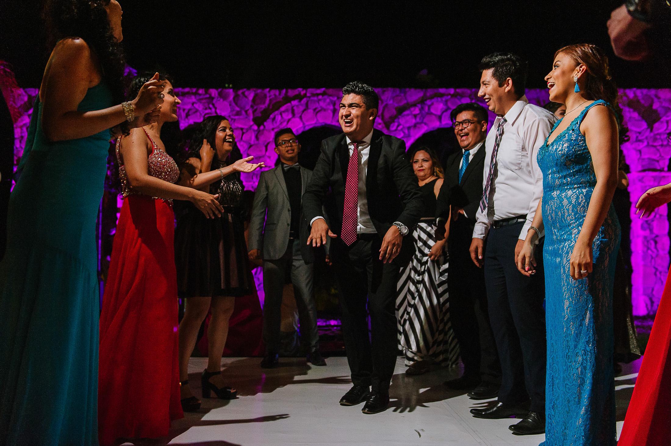 wedding guests dancing at Antigua Hacienda de Santiago