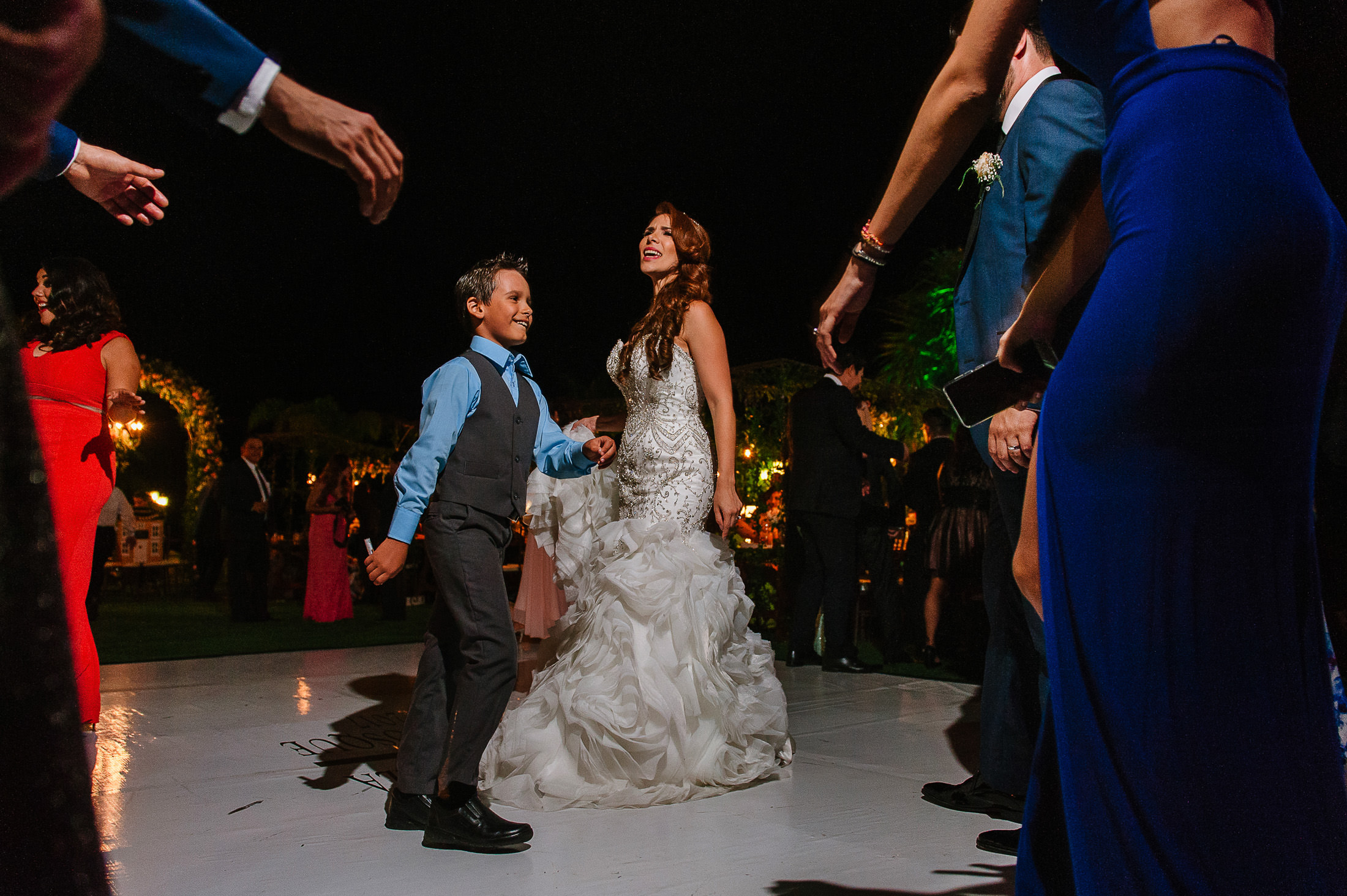 Bride dancing with ring bearer in Antigua Hacienda de Santiago