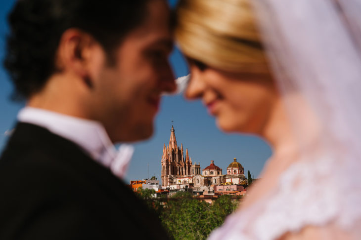 Bride and groom landscape of San Miguel de Allende Wedding