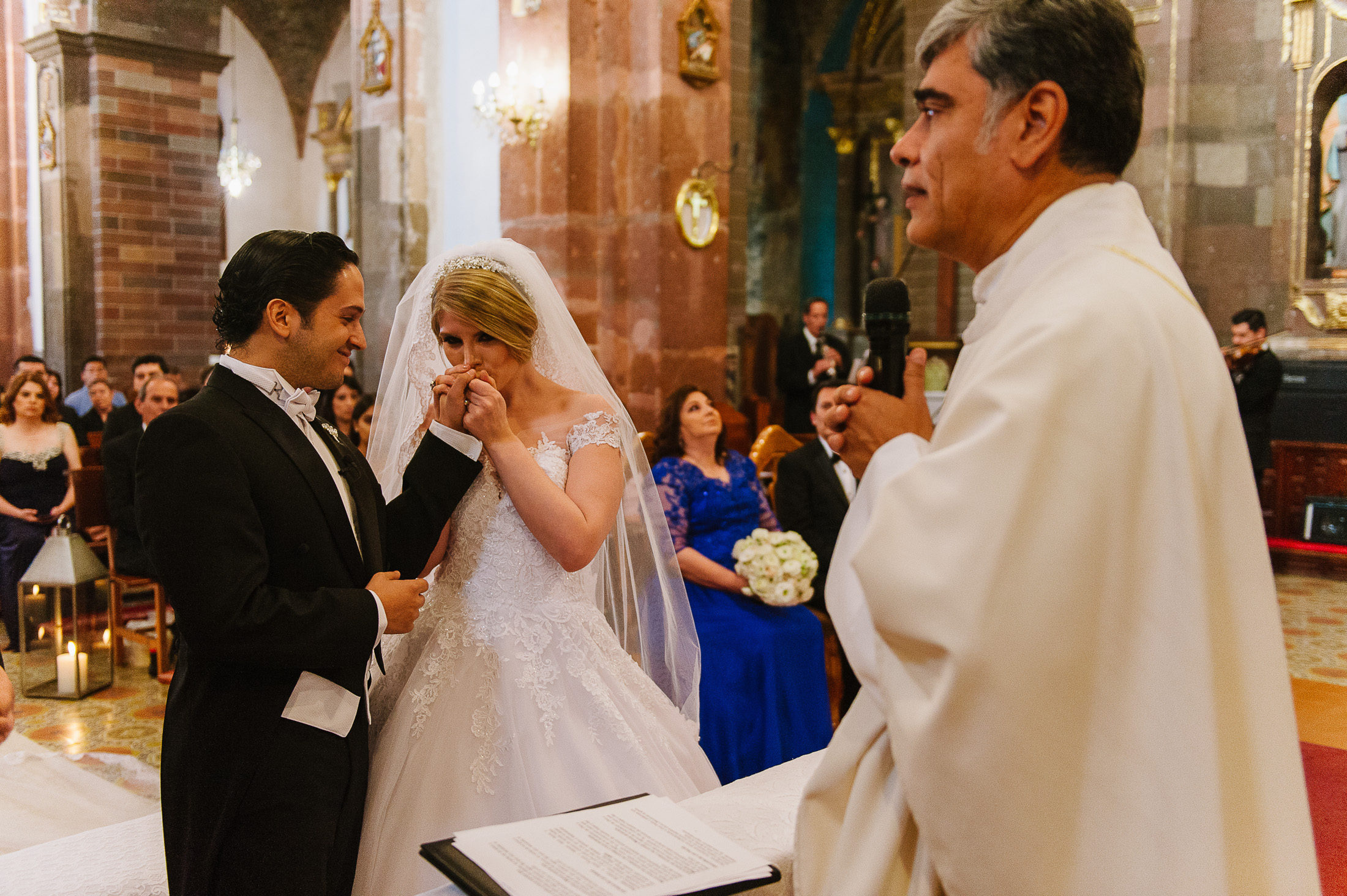 bride and groom emotional moment at ceremony