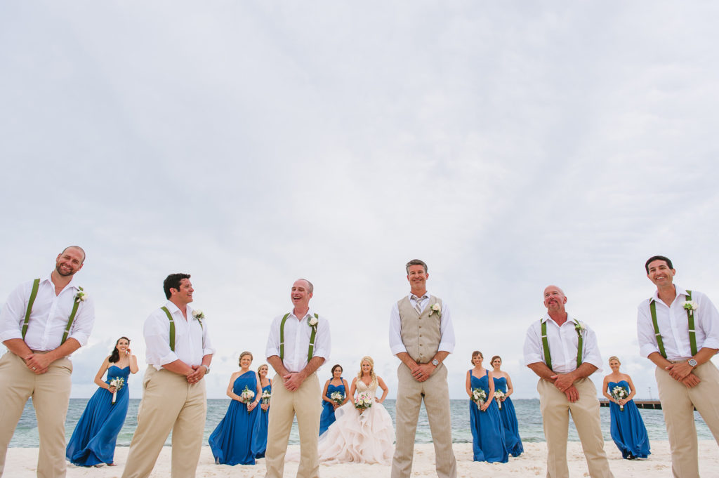 Creative Bridal party portrait on the beach