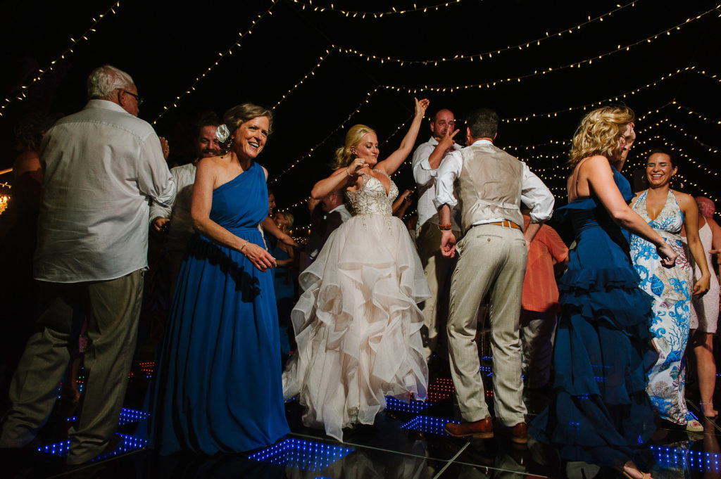Bride and groom dancing on the dance floor