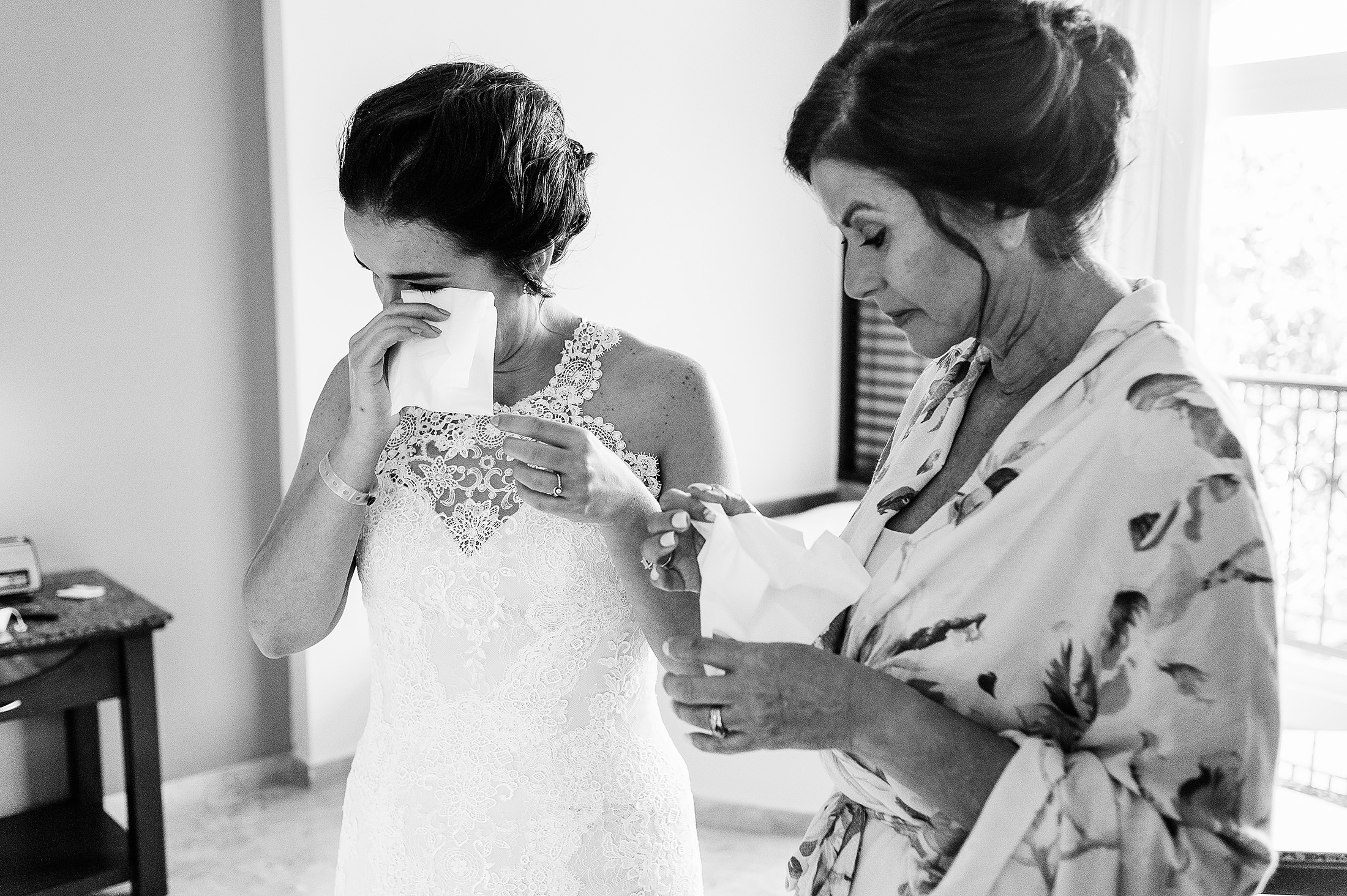 Mother and Bride sharing tears of joy