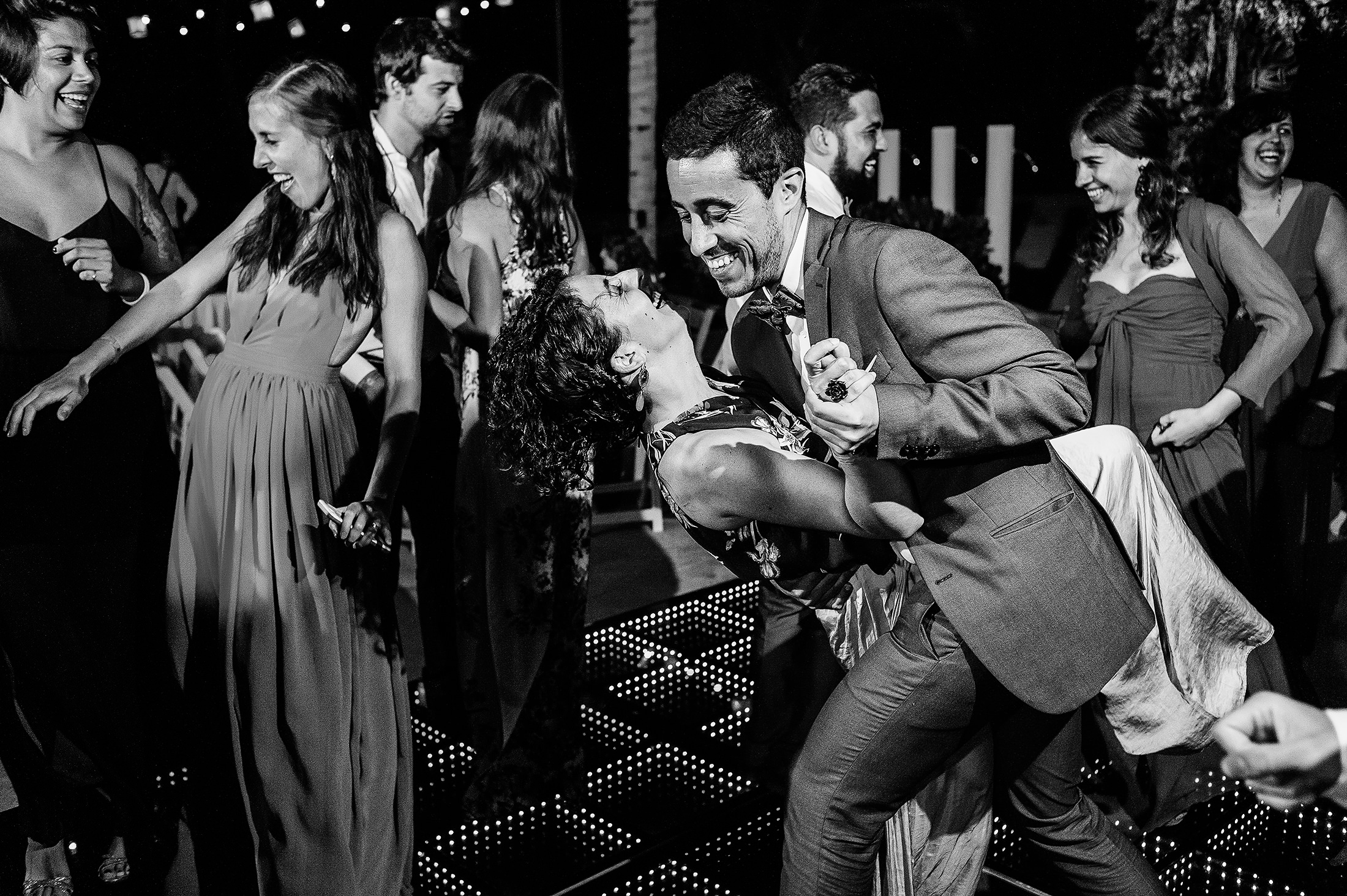 Guests dancing in wedding reception