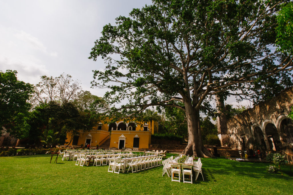 Outdoor garden wedding at Hacienda Uayamon