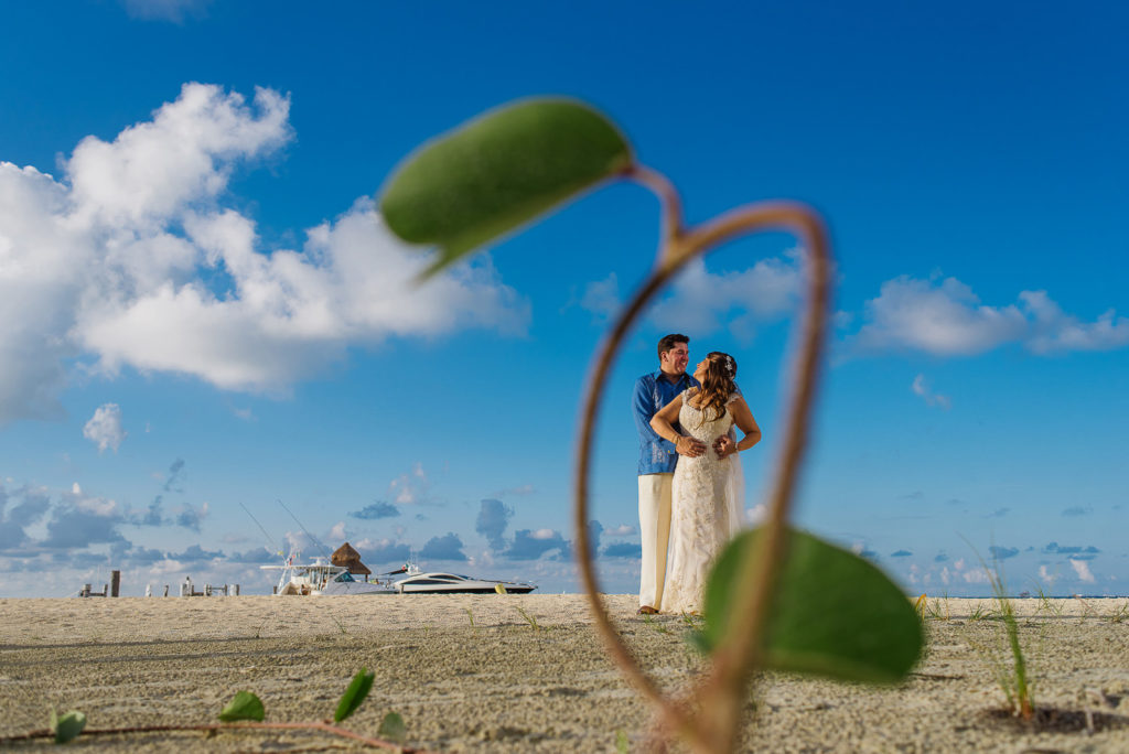 Couple framed with little plant on the beach wedding portrait