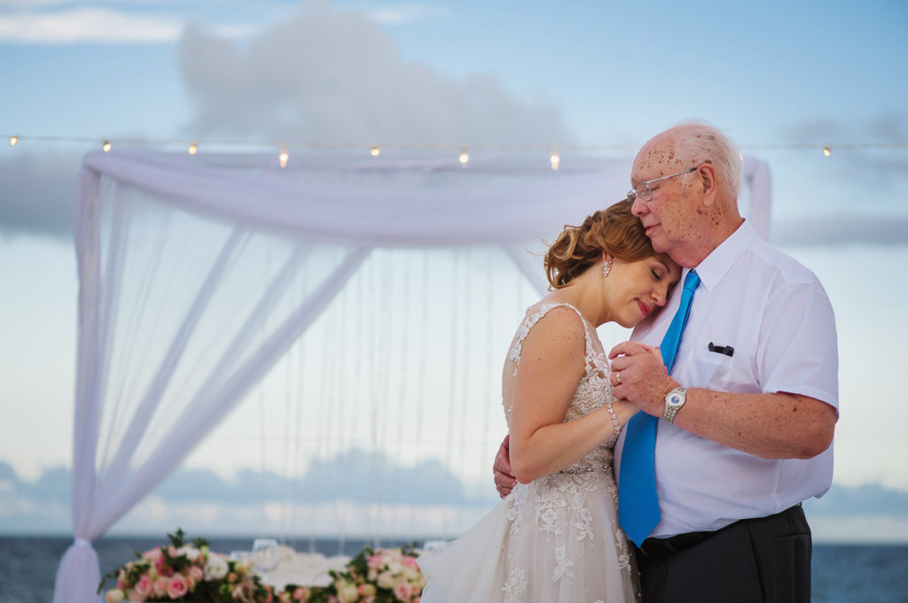 Father of the bride and bride dance at Hard Rock Riviera Maya