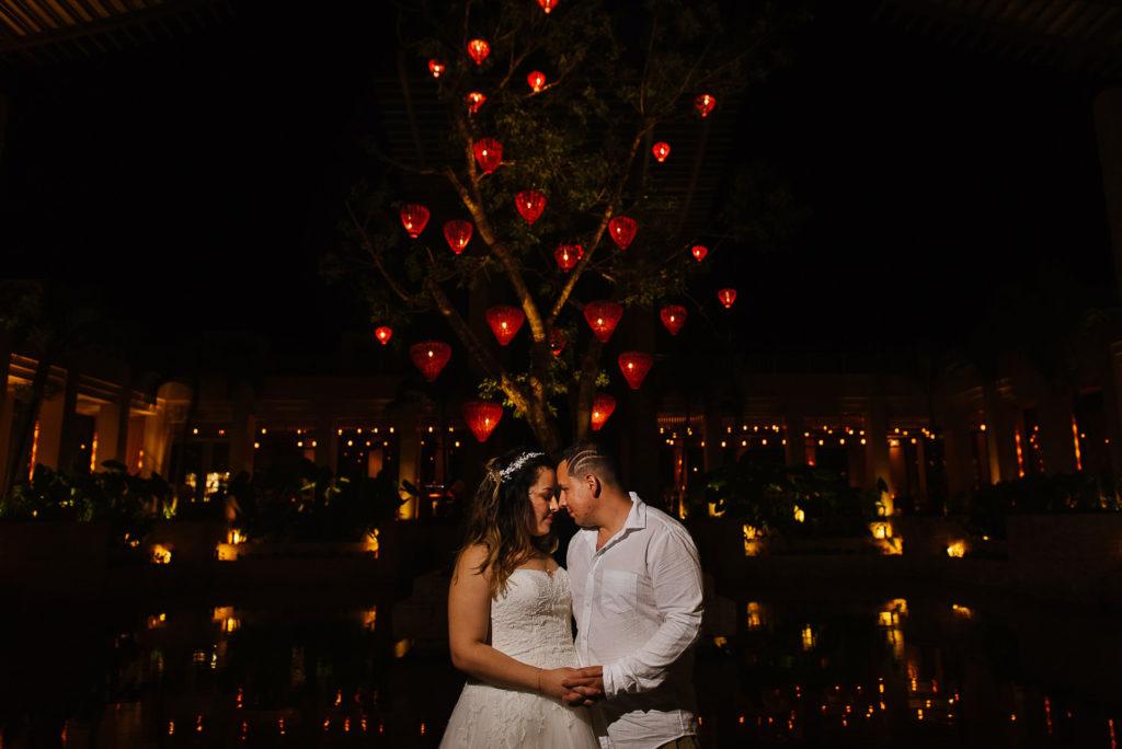 Banyan Tree Lobby at night wedding portrait