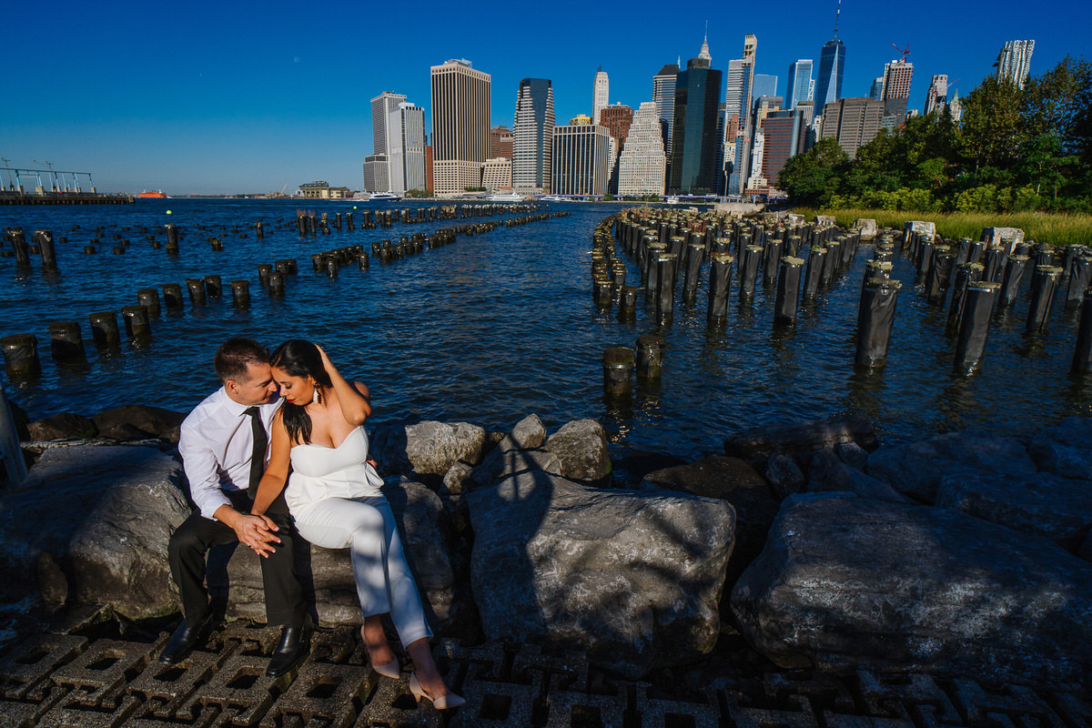 Pier one Brooklyn portrait with Manhattan skyline