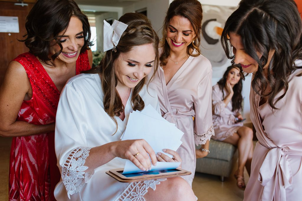 Bride showing bridesmaids and Mother prints.