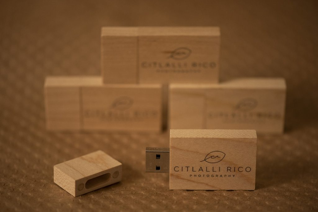 Wooden USB drives with logo