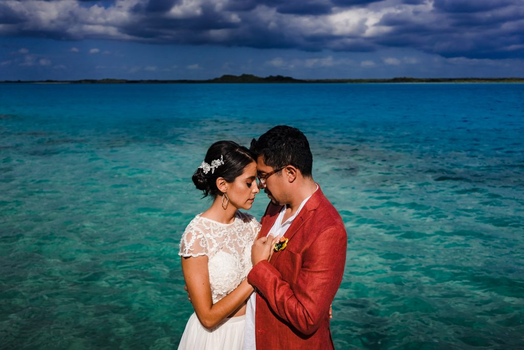 Bacalar lagoon Bride and Groom colorful portrait