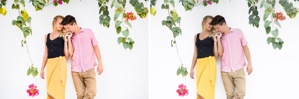 Visual Flow Presets before and after. Couple portrait against white wall with colorful flowers in Puerto Morelos Mexico.